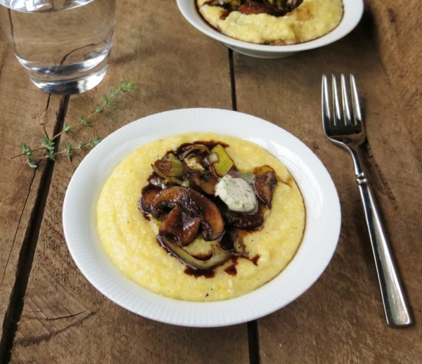 Roasted Balsamic Mushrooms over Polenta ~ Pretty/Hungry Blog