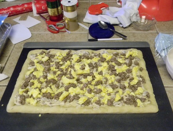 Breakfast Pizza with Eggs and Sausage