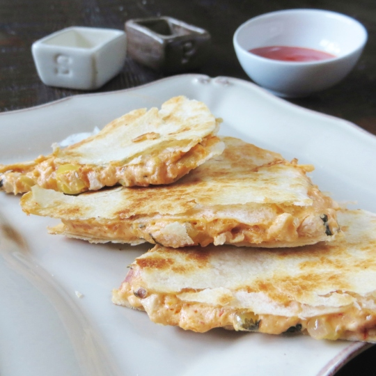 Buffalo Chicken Quesadillas - Budget-Friendly and SO addictive.  From the Pretty/Hungry Blog