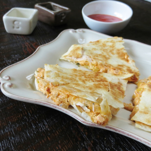Buffalo Chicken Quesadillas made with  Rotisserie Chicken - Pretty/Hungry Blog