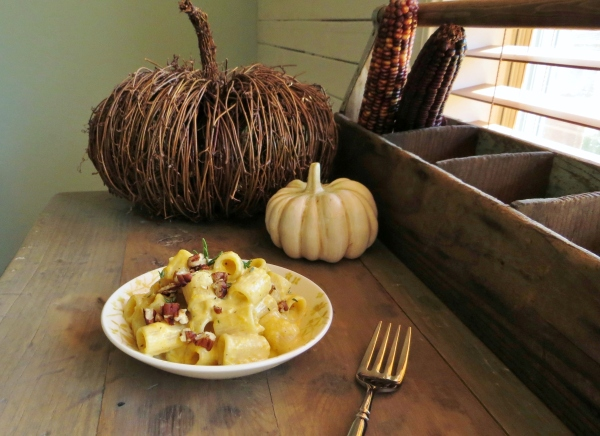 Rigatoni with Cheesey Pumpkin Sauce for Fall!  ~Pretty/Hungry Blog